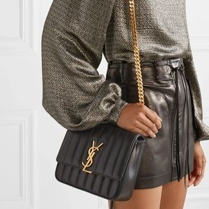 New Yves Saint Laurent Black Medium Vicky Bag